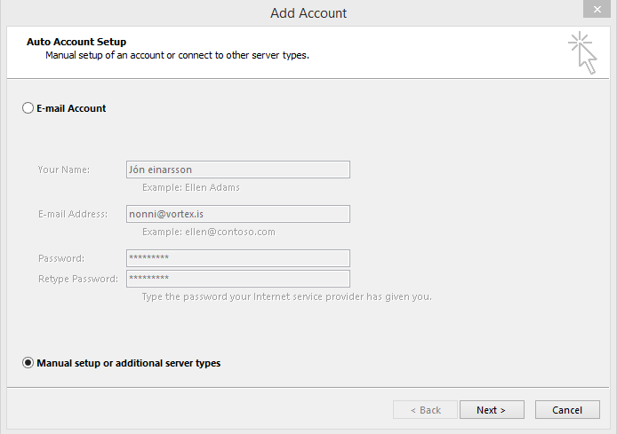 Uppsetning á Outlook - Skref 1