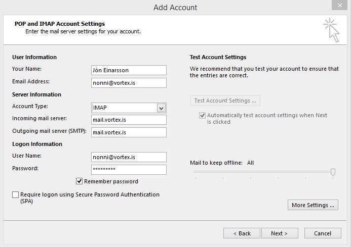 Uppsetning á Outlook - Skref 2