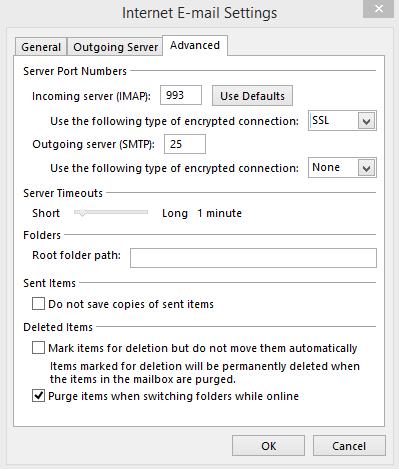 Uppsetning á Outlook - Skref 3